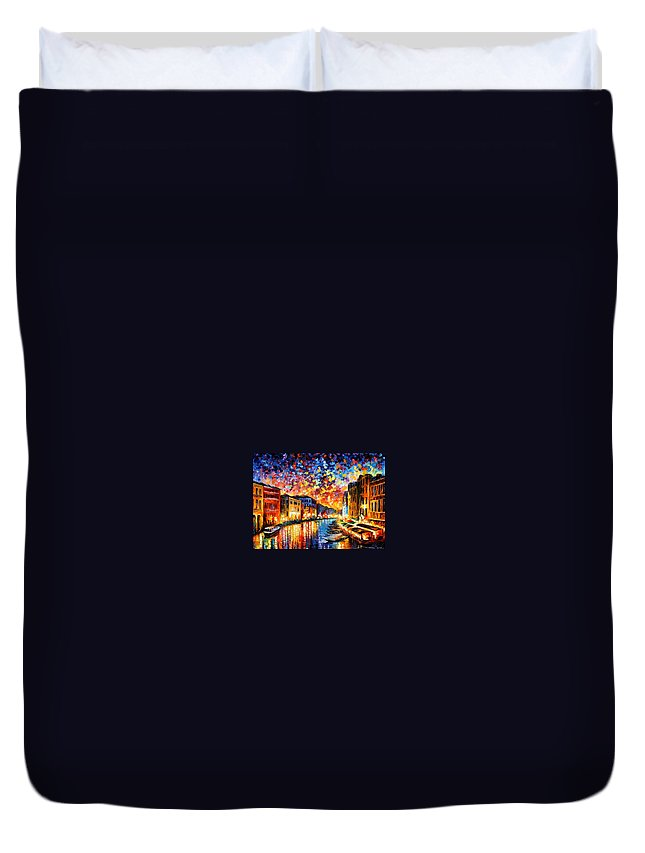 Afremov Duvet Cover featuring the painting Venice - Grand Canal by Leonid Afremov