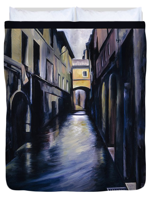 Street; Canal; Venice ; Desert; Abandoned; Delapidated; Lost; Highway; Route 66; Road; Vacancy; Run-down; Building; Old Signage; Nastalgia; Vintage; James Christopher Hill; Jameshillgallery.com; Foliage; Sky; Realism; Oils Duvet Cover featuring the painting Venice by James Christopher Hill