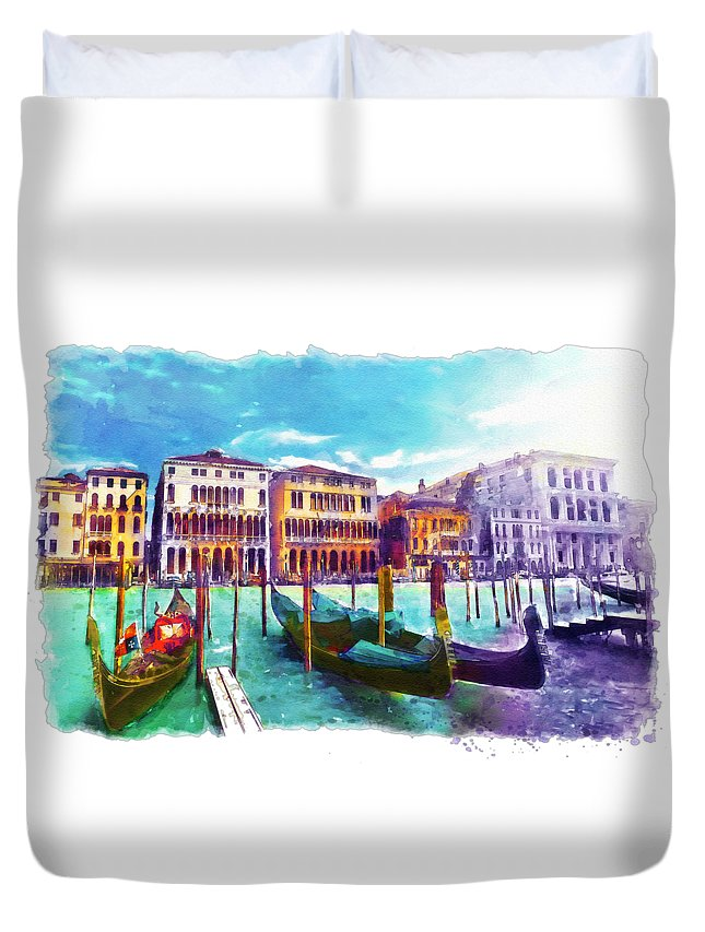 Venice Duvet Cover featuring the painting Venice by Marian Voicu