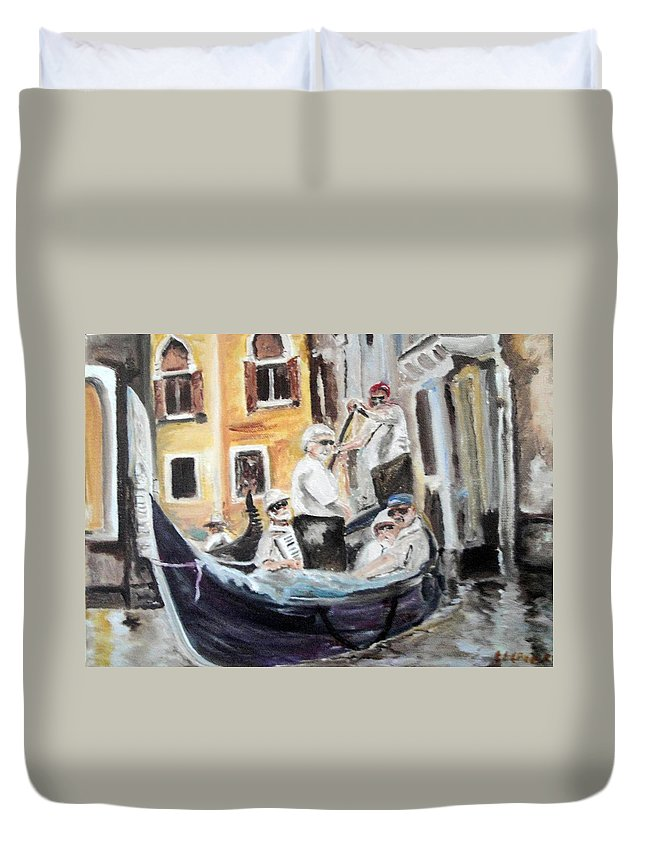 Canal Duvet Cover featuring the painting Venice Party by Chuck Gebhardt