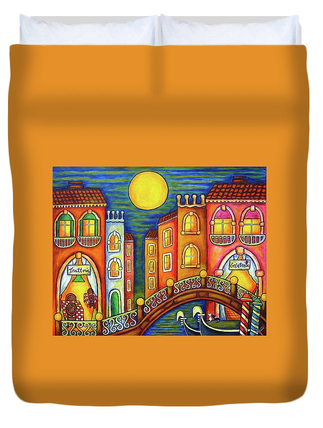 Colourful Duvet Cover featuring the painting Venice Soiree by Lisa Lorenz