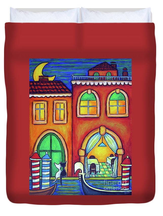 Venice Duvet Cover featuring the painting Venice Valentine II by Lisa Lorenz