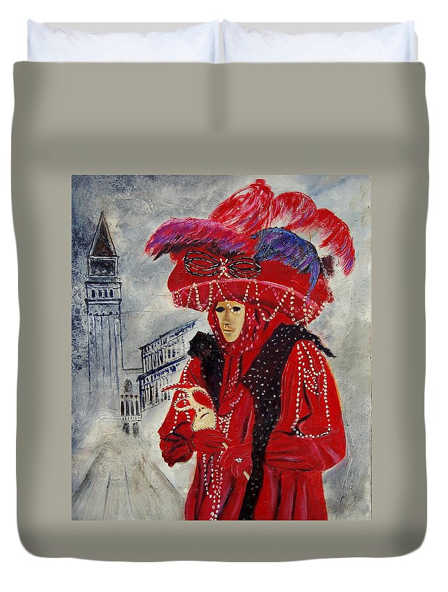 Venice Duvet Cover featuring the painting Venitian Mask 0130 by Pol Ledent