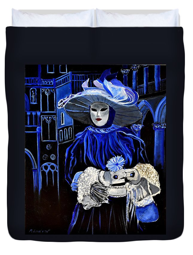 Mask Duvet Cover featuring the painting Venitian Mask by Pol Ledent