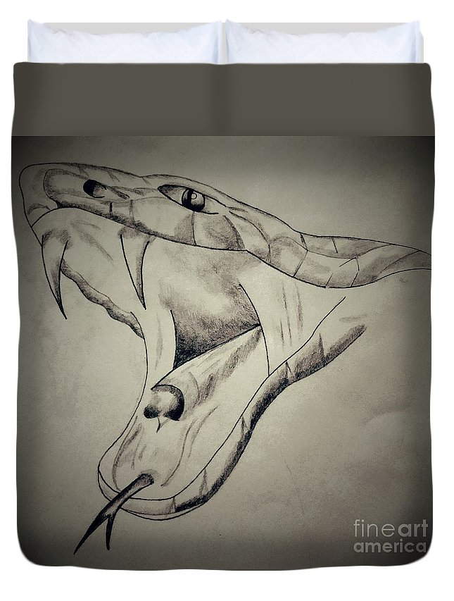 Snake Duvet Cover featuring the drawing Venom by Nathan Pierce