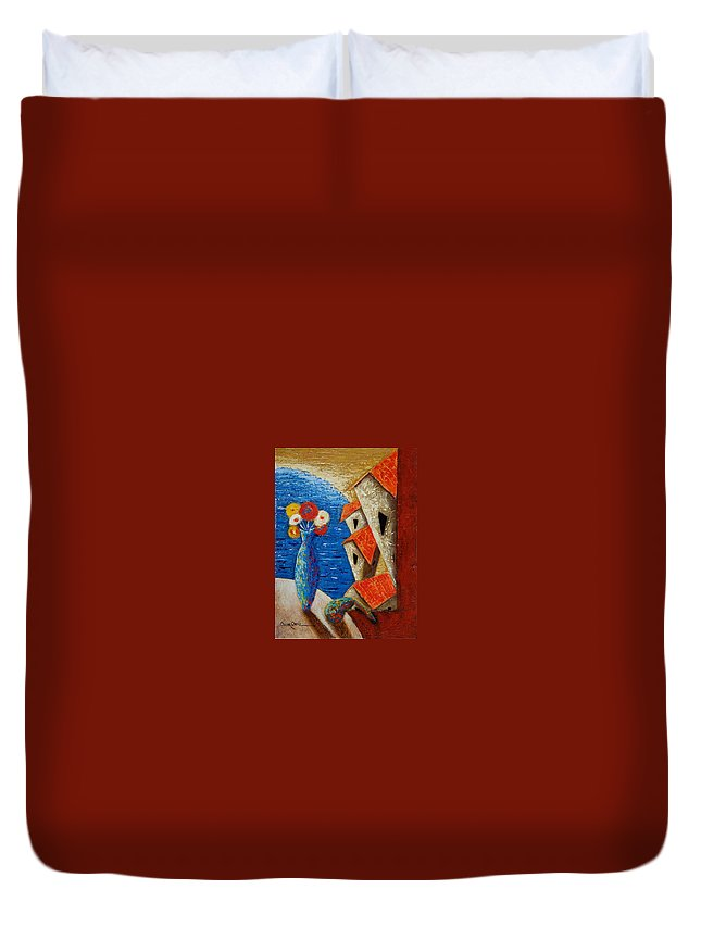 Landscape Duvet Cover featuring the painting Ventana Al Mar by Oscar Ortiz