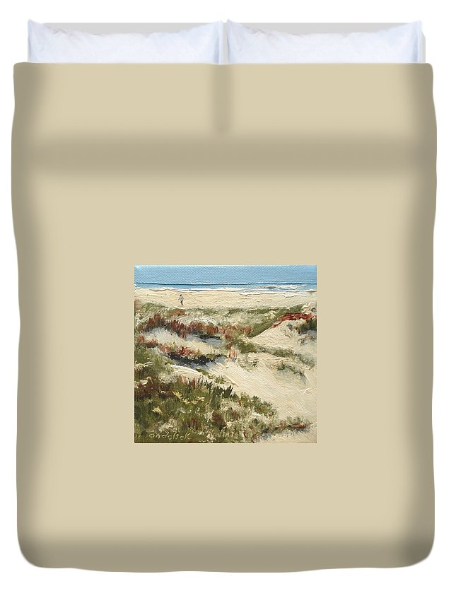 Water Duvet Cover featuring the painting Ventura Dunes II by Barbara Andolsek