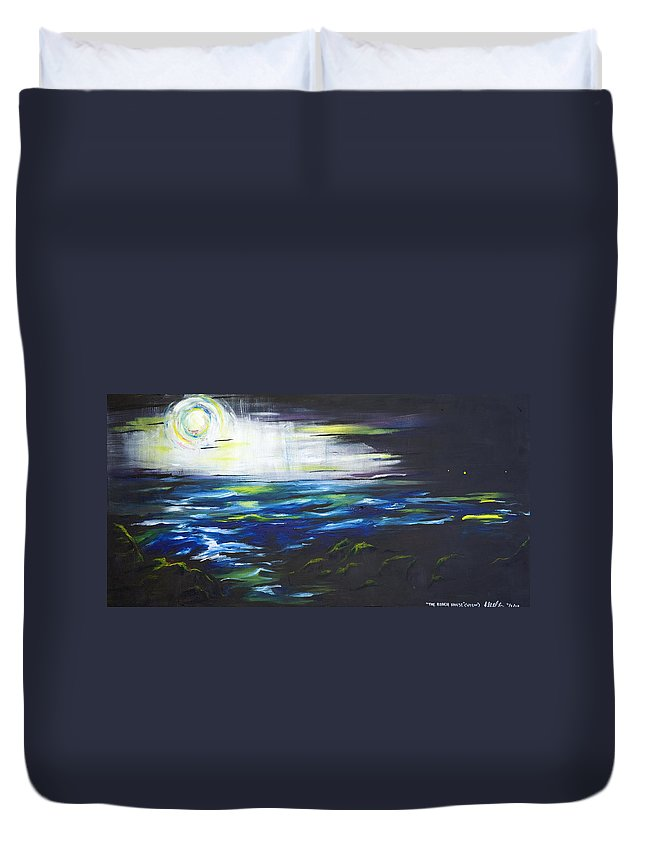 Night Duvet Cover featuring the painting Ventura Seascape At Night by Sheridan Furrer