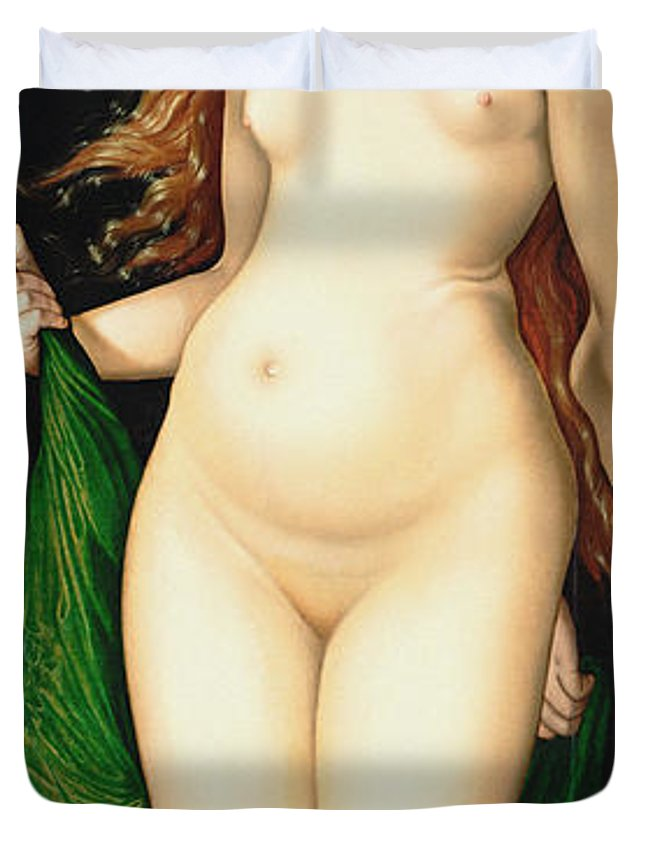 Amor Duvet Cover featuring the painting Venus And Amor1524 by Hans Baldung Grien