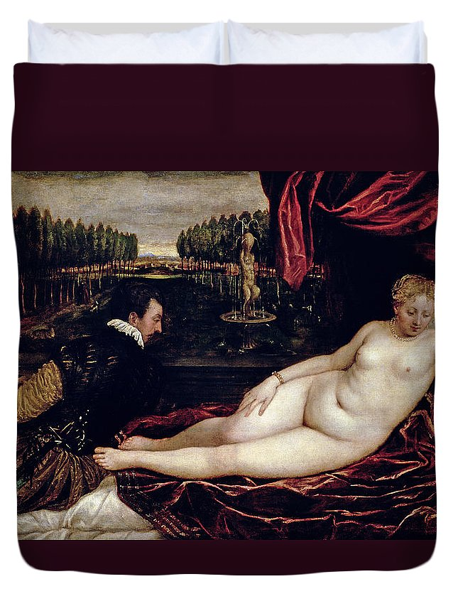 Venus Duvet Cover featuring the painting Venus And The Organist by Titian