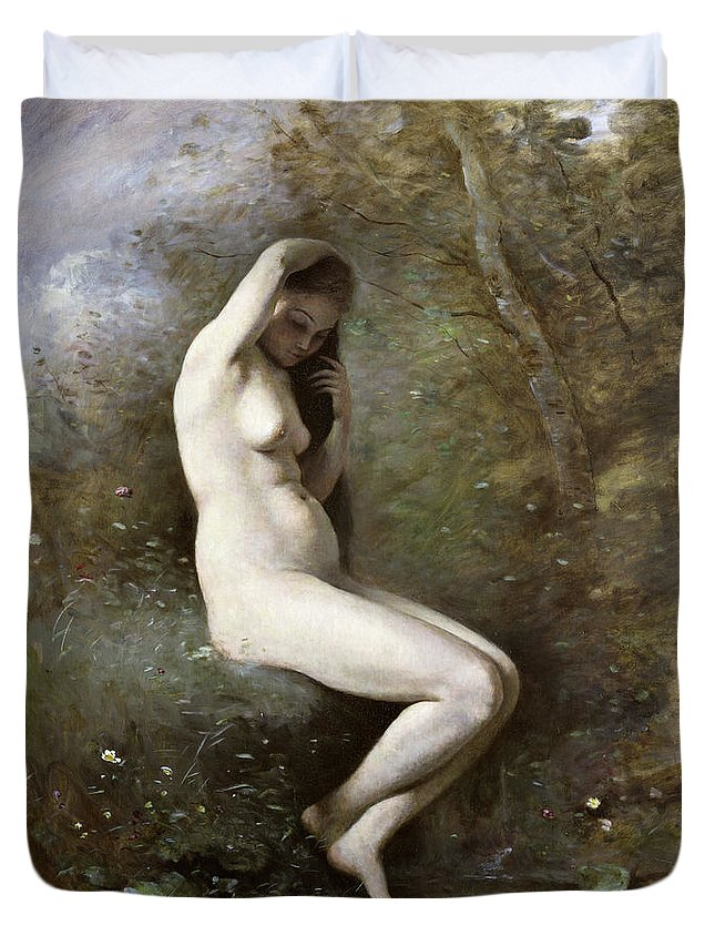 Venus Bathing Duvet Cover featuring the painting Venus Bathing by Jean Baptiste Camille Corot