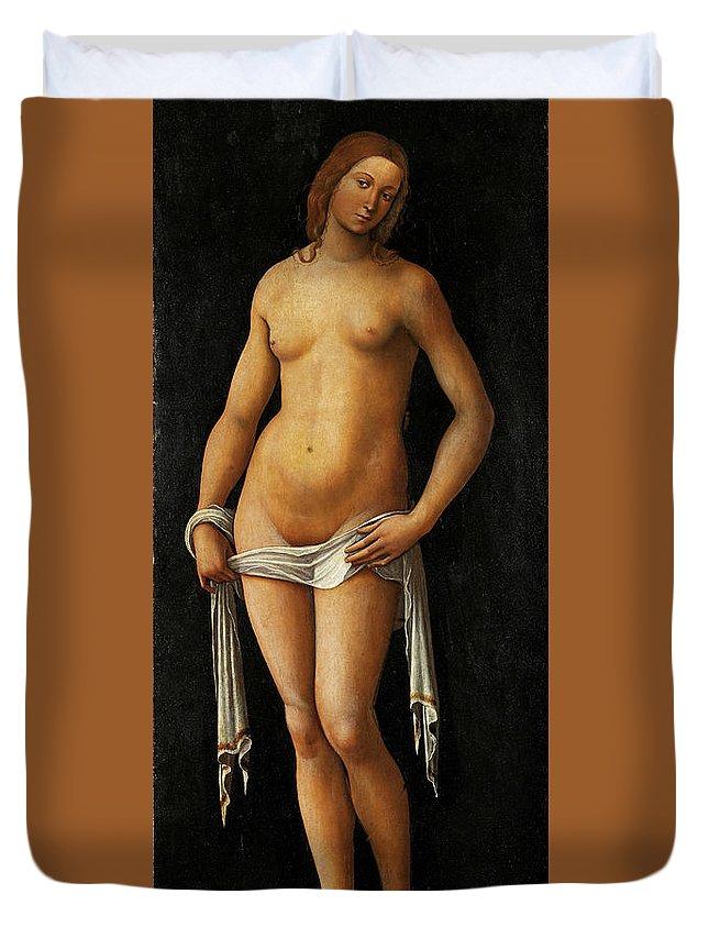Lorenzo Costa Duvet Cover featuring the painting Venus by Lorenzo Costa