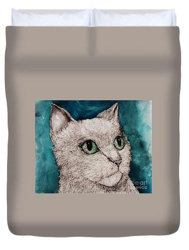 Cat Duvet Cover featuring the painting Verde Eyes by Melinda Etzold