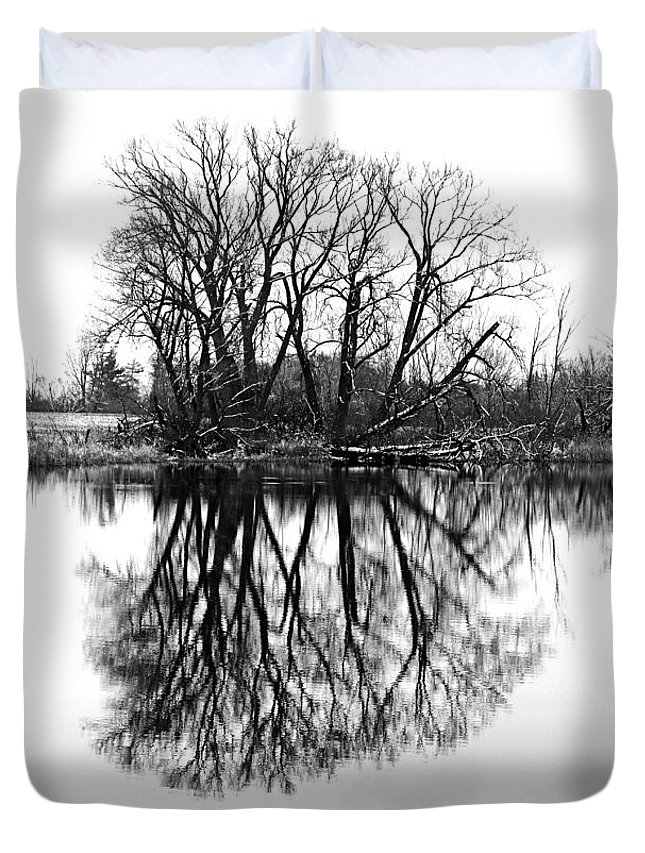 Black And White Duvet Cover featuring the photograph Verge Of Spring by Debbie Oppermann