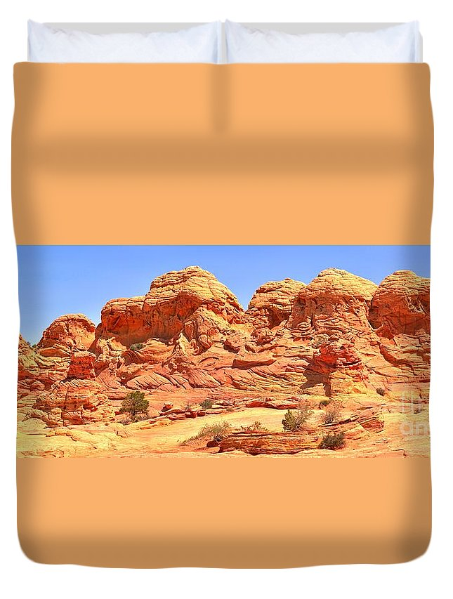 Petrified Sand Dunes Duvet Cover featuring the photograph Vermilion Buttes by Adam Jewell