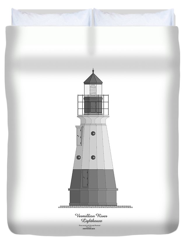 Lighthouse Duvet Cover featuring the painting Vermillion River Lighthouse Architectural Rendering by Anne Norskog