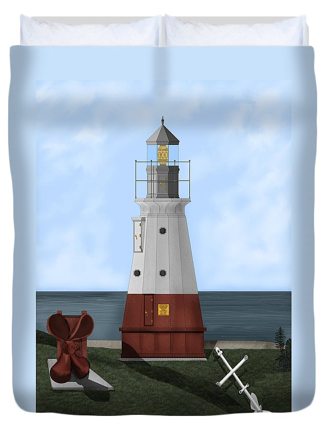 Lighthouse Duvet Cover featuring the painting Vermillion River Lighthouse On Lake Erie by Anne Norskog