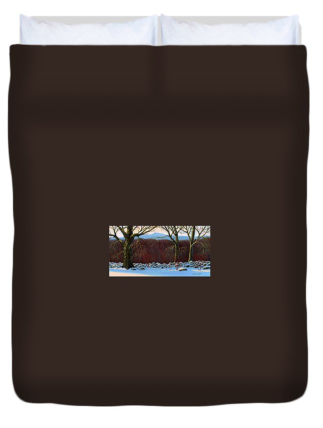 Landscape Duvet Cover featuring the painting Vermont Stone Wall by Frank Wilson