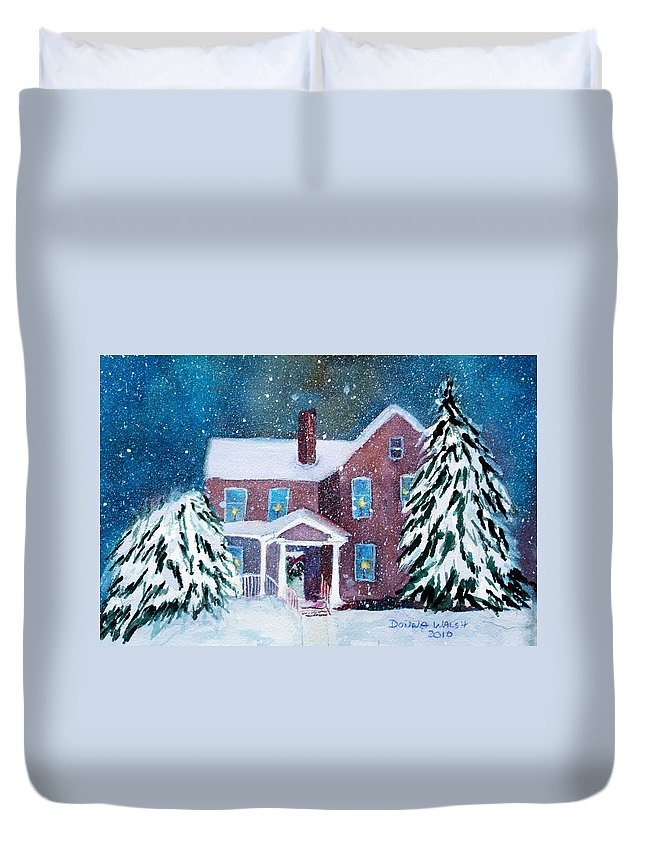 Winter Duvet Cover featuring the painting Vermont Studio Center In Winter by Donna Walsh