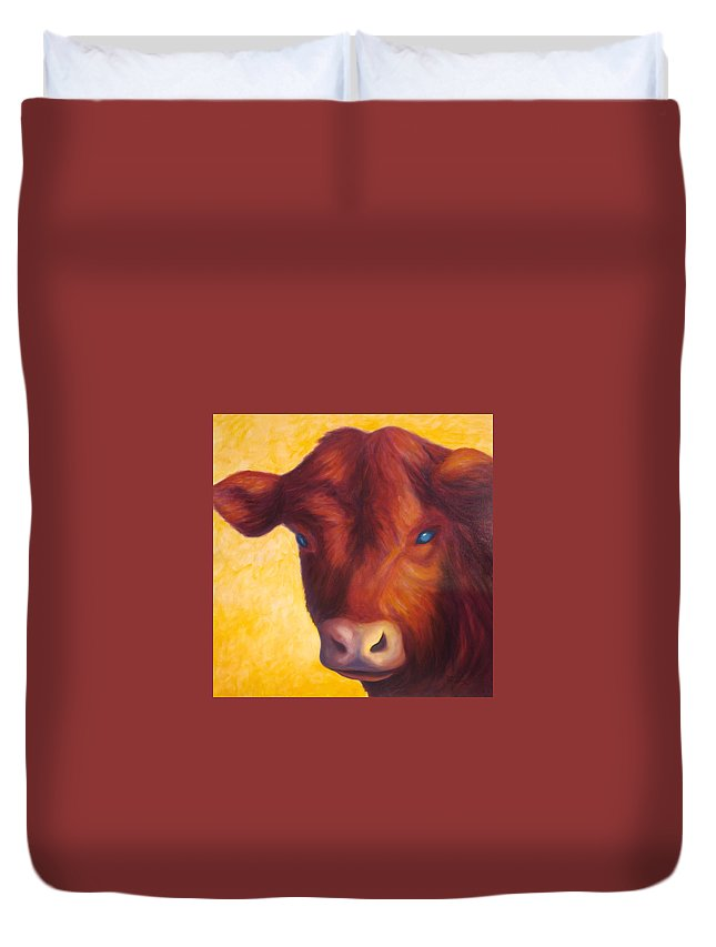 Bull Duvet Cover featuring the painting Vern by Shannon Grissom