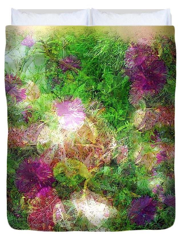 Semi-abstract Duvet Cover featuring the painting Vernal Equinox by RC DeWinter