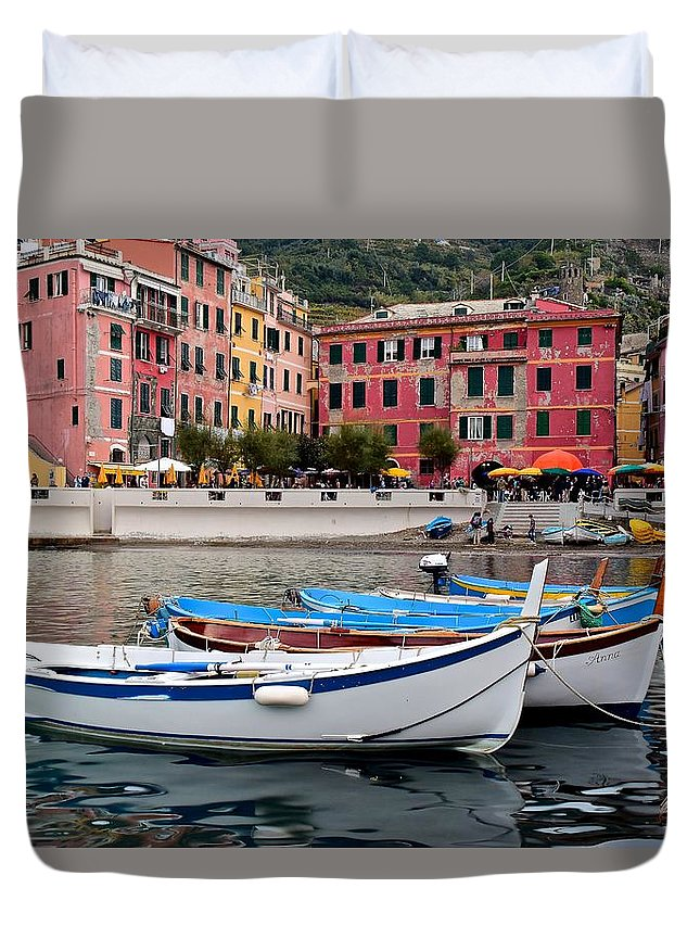 Vernazza Duvet Cover featuring the photograph Vernazza Fishing Boats by Frozen in Time Fine Art Photography