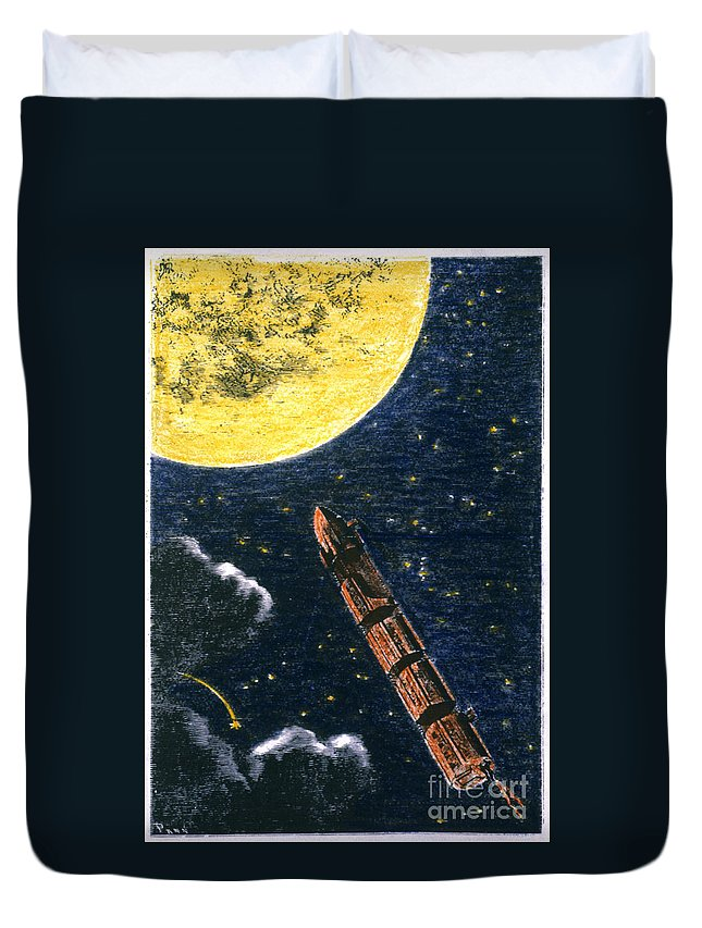 19th Century Duvet Cover featuring the photograph Verne: From Earth To Moon by Granger