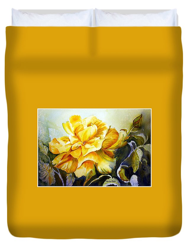 Yellow Rose Duvet Cover featuring the painting Vernon's Rose by Marilyn Bishop