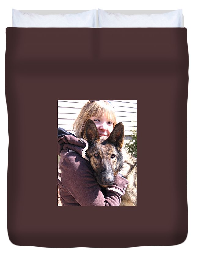 Daughter Duvet Cover featuring the photograph Vero Et Foxy by Line Gagne