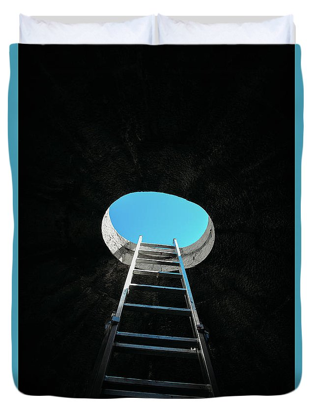 Success Duvet Cover featuring the photograph Vertical Step-ladder On Ceiling Window by Alexandre Rotenberg
