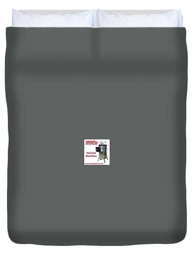 Vertical Duvet Cover featuring the digital art Vertical Sterilizer by Pl Tandon