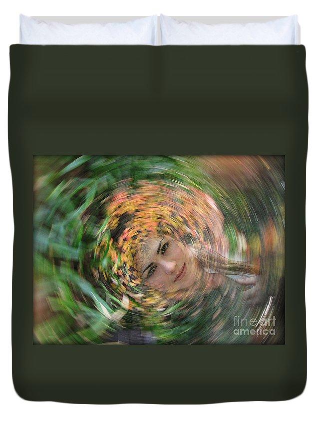 Woman Duvet Cover featuring the photograph Vertigo by Eena Bo