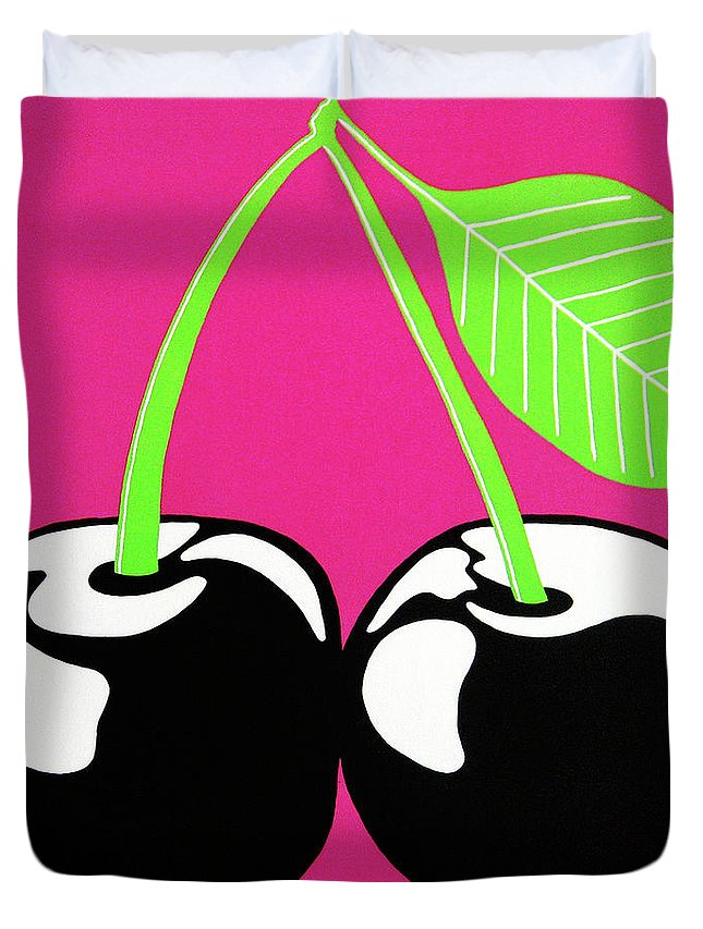 Very Cherry Duvet Cover featuring the painting Very Cherry by Oliver Johnston