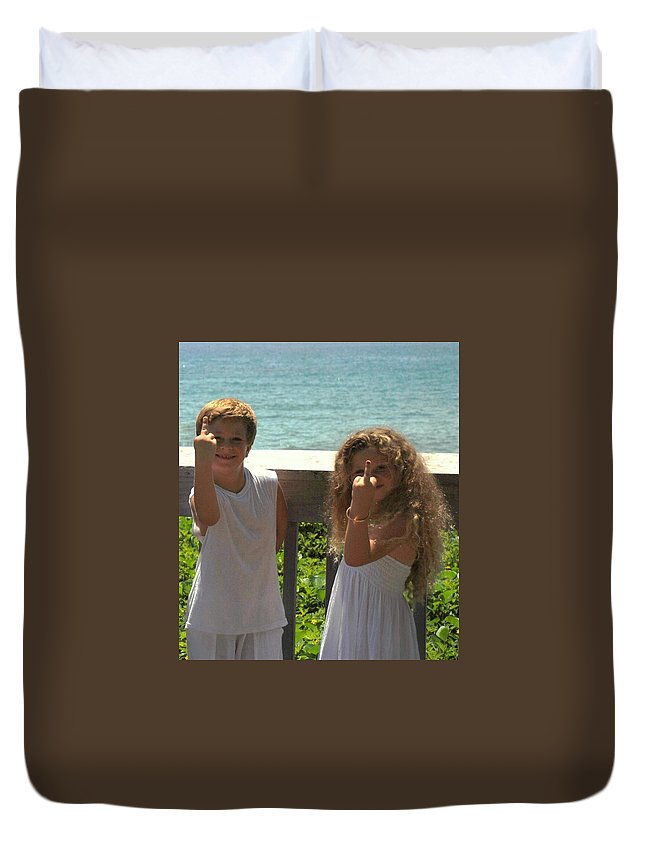Kids Duvet Cover featuring the photograph Very Naughty Angels by Rob Hans