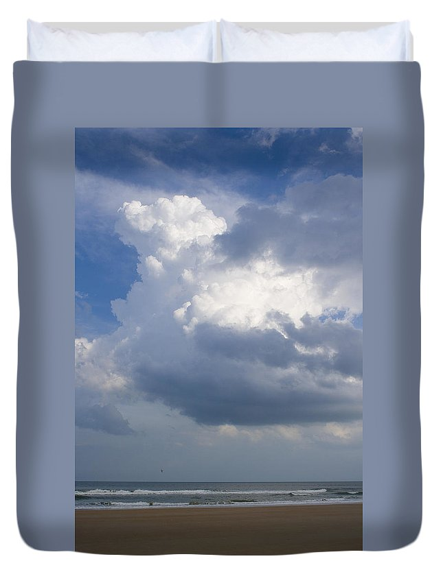 Ocean Nature Beach Sand Wave Water Sky Cloud White Bright Big Sun Sunny Vacation Relax Blue Duvet Cover featuring the photograph Vessels In The Sky by Andrei Shliakhau