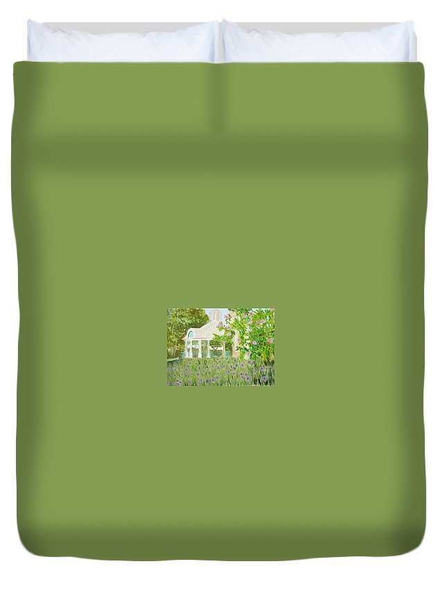 Park Duvet Cover featuring the painting Veteran's Park by Donna Walsh