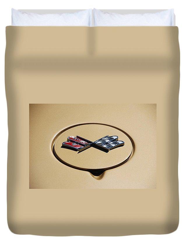 Corvette Duvet Cover featuring the photograph Vette Flags by Rob Hans