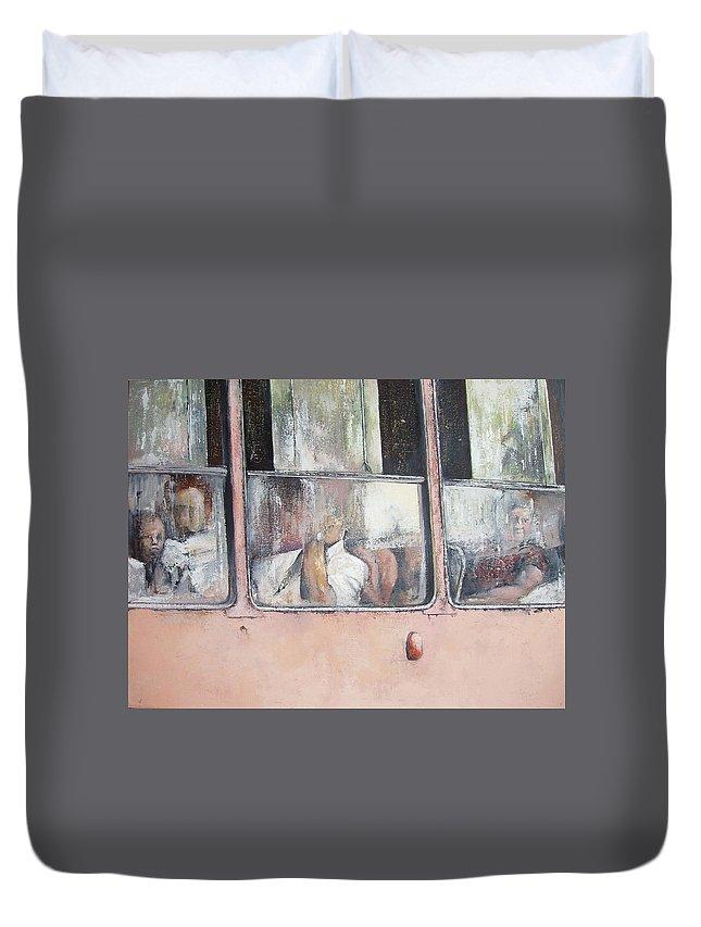 Camello Duvet Cover featuring the painting Viajando en Camello-La Habana by Tomas Castano