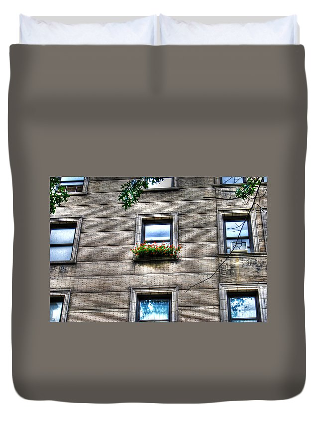 Flowers In A Windowsill Duvet Cover featuring the photograph Vibrance In A Sea Of Grey by Randy Aveille