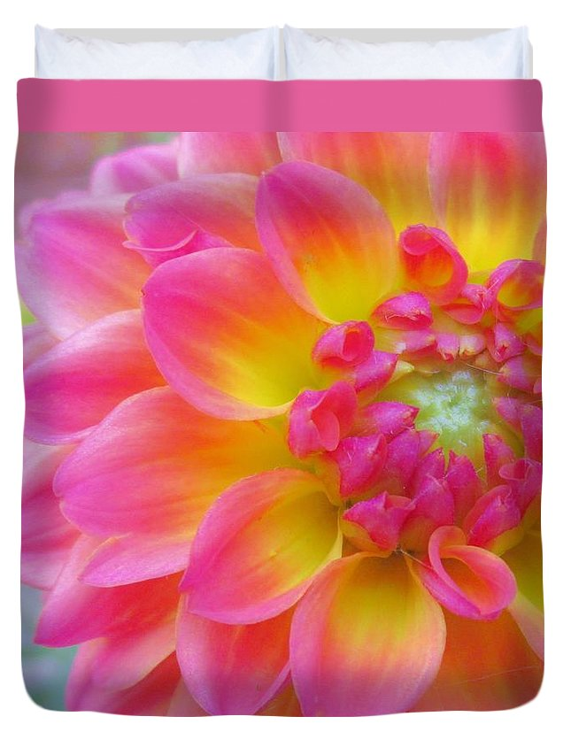 Floral Duvet Cover featuring the photograph Vibrant Dahlia by Sharon Ackley
