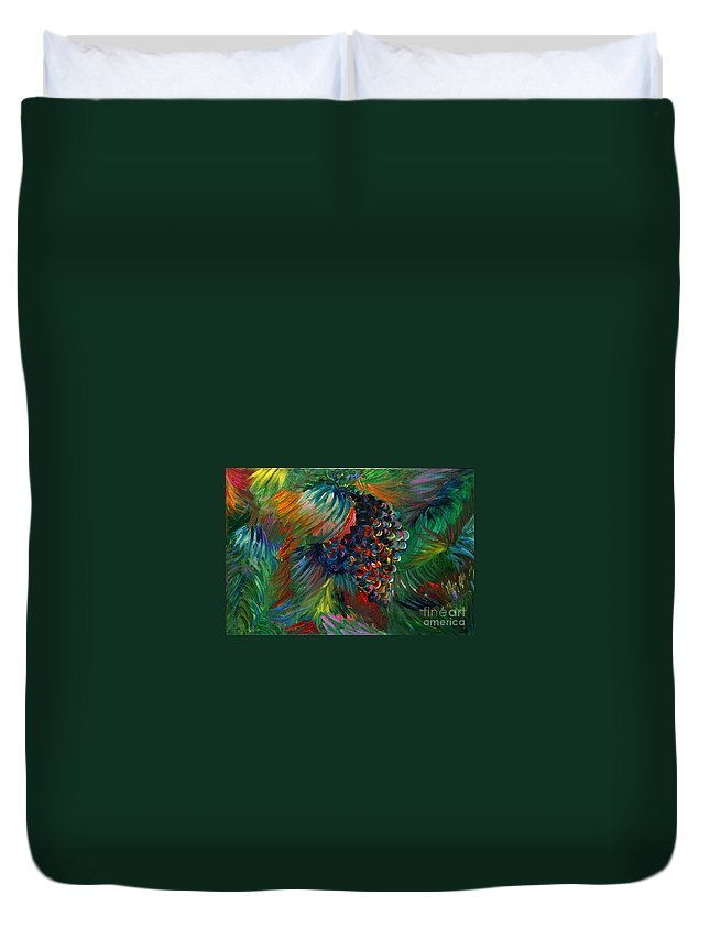 Grapes Duvet Cover featuring the painting Vibrant Grapes by Nadine Rippelmeyer