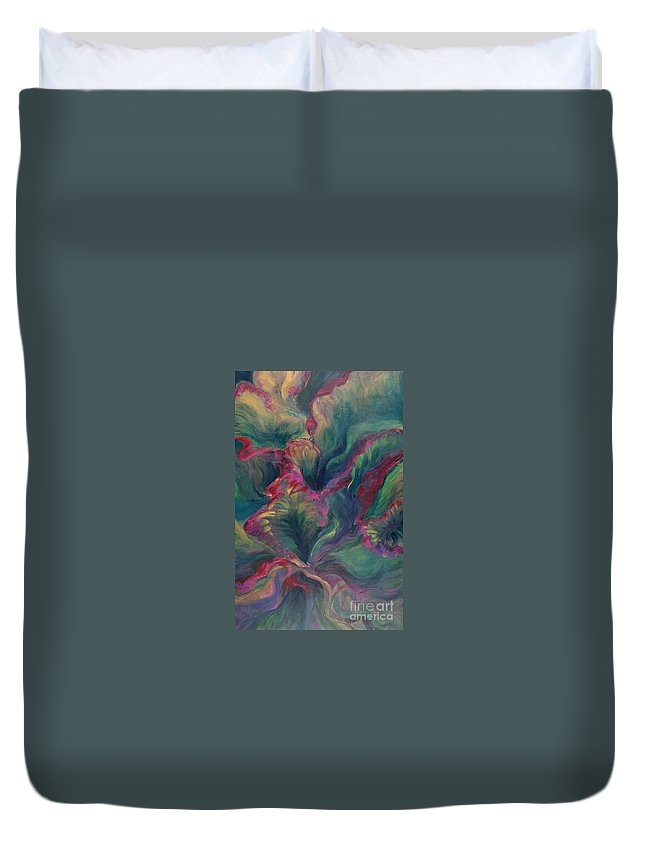 Leaves Duvet Cover featuring the painting Vibrant Leaves by Nadine Rippelmeyer