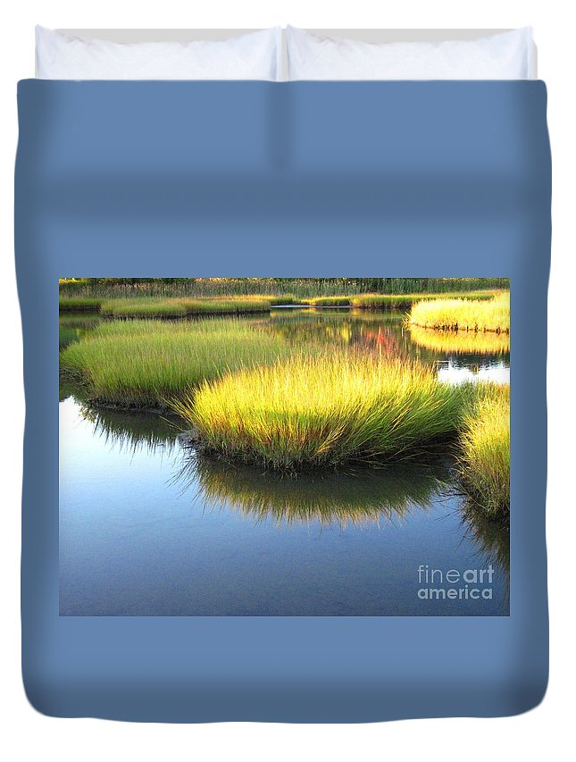 Water Duvet Cover featuring the photograph Vibrant Marsh Grasses by Sybil Staples