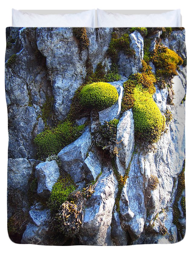 Moss Duvet Cover featuring the photograph Vibrant Moss by Leah Vi