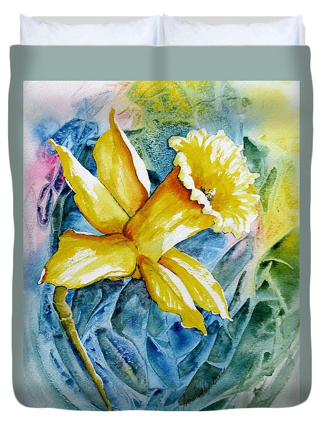 Watercolor Duvet Cover featuring the painting Vibrant Spring by April McCarthy-Braca