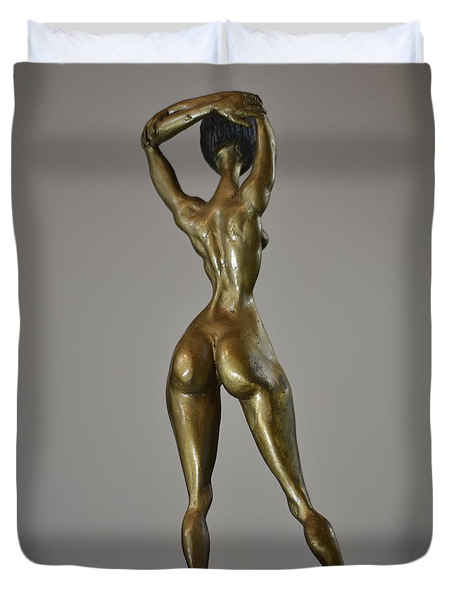 Bronze Duvet Cover featuring the sculpture Vicky by Che Hondo