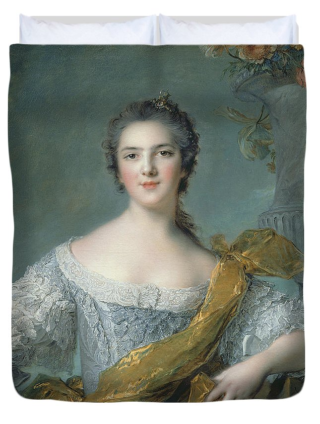 Victoire Duvet Cover featuring the painting Victoire De France At Fontevrault by Jean Marc Nattier