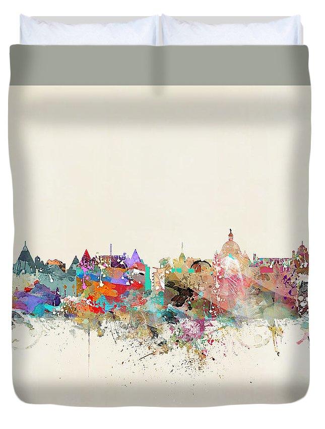 Victoria British Columbia Duvet Cover featuring the painting Victoria British Columbia by Bri Buckley