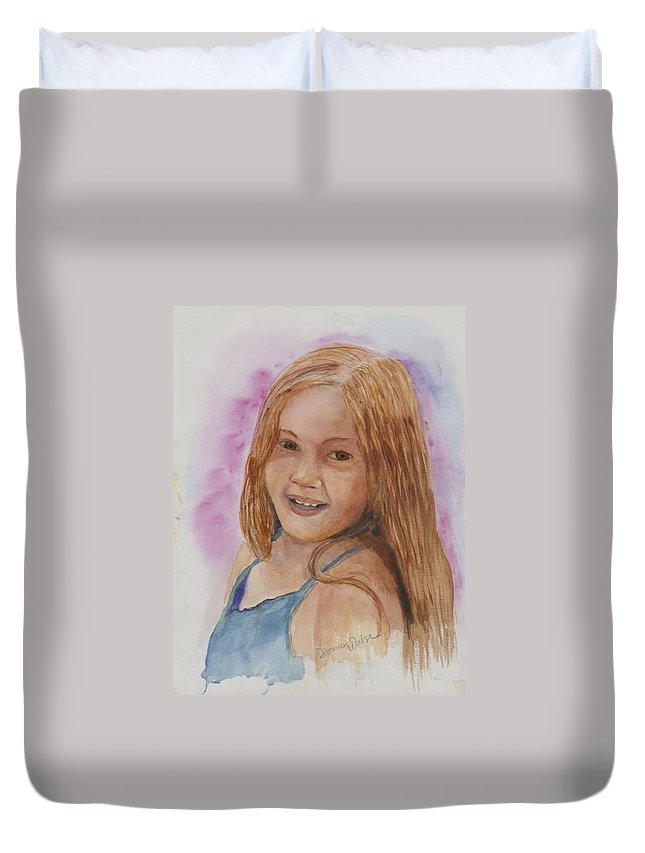 Girl. Portrait Duvet Cover featuring the painting Victoria by Donna Walsh