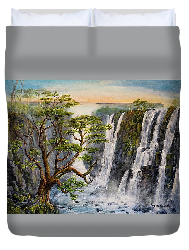 Waterfalls Duvet Cover featuring the painting Victoria Falls Zimbabwe by Wayne Enslow